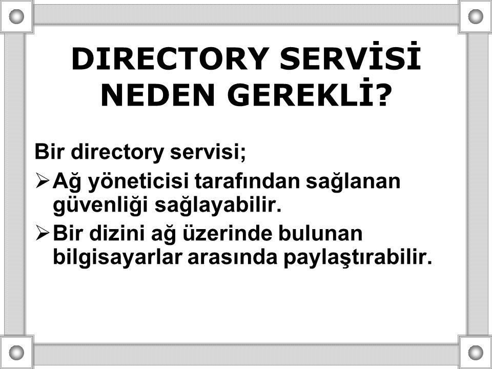 DIRECTORY SERVİSİ NEDEN GEREKLİ? Bir directory servisi;  Ağ yöneticisi tarafından sağlanan güvenliği sağlayabilir.  Bir dizini ağ üzerinde bulunan b