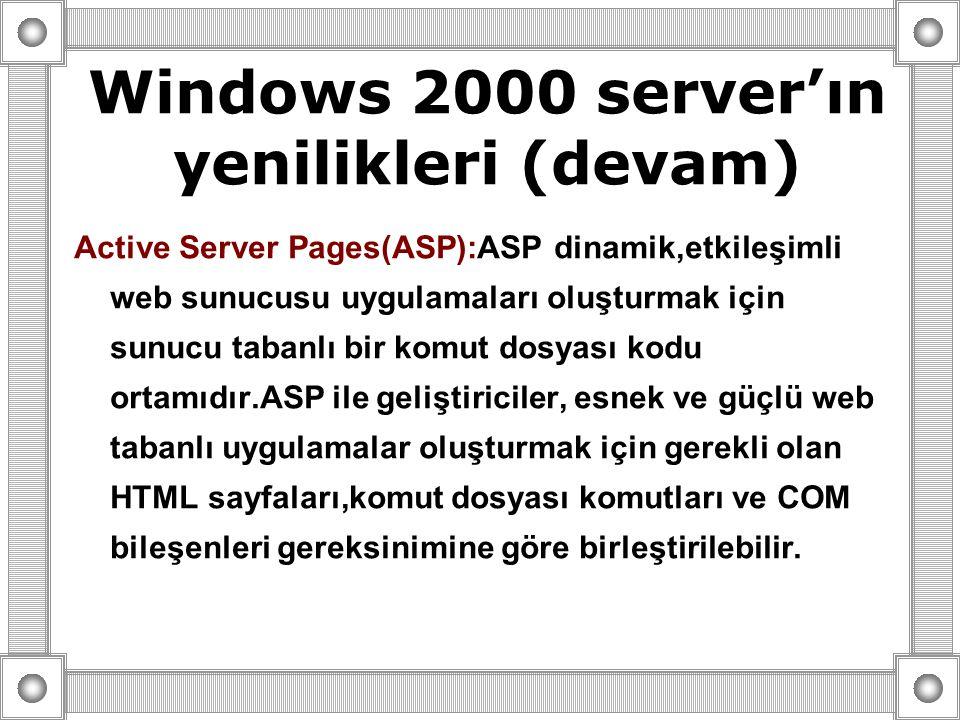 Active Server Pages(ASP):ASP dinamik,etkileşimli web sunucusu uygulamaları oluşturmak için sunucu tabanlı bir komut dosyası kodu ortamıdır.ASP ile geliştiriciler, esnek ve güçlü web tabanlı uygulamalar oluşturmak için gerekli olan HTML sayfaları,komut dosyası komutları ve COM bileşenleri gereksinimine göre birleştirilebilir.