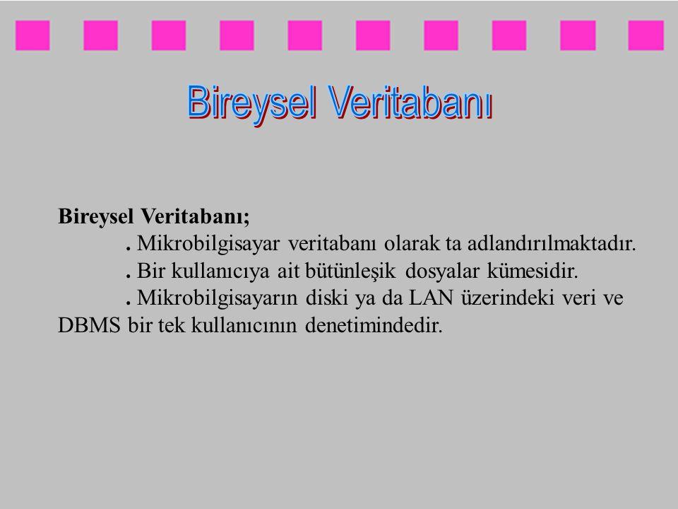 Bireysel Veritabanı;. Mikrobilgisayar veritabanı olarak ta adlandırılmaktadır.. Bir kullanıcıya ait bütünleşik dosyalar kümesidir.. Mikrobilgisayarın