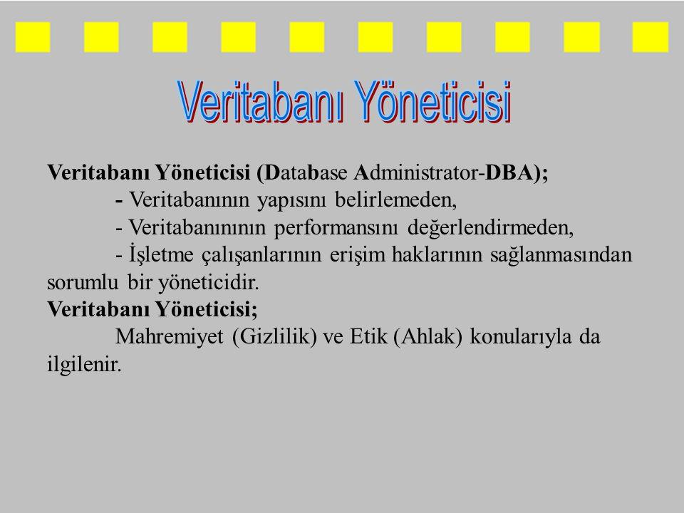 Veritabanı Yöneticisi (Database Administrator-DBA); - Veritabanının yapısını belirlemeden, - Veritabanınının performansını değerlendirmeden, - İşletme