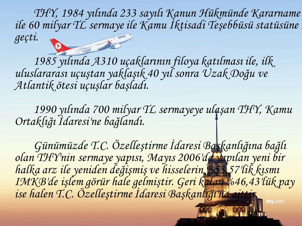 THY, 1984 yılında 233 sayılı Kanun Hükmünde Kararname ile 60 milyar TL sermaye ile Kamu İktisadi Teşebbüsü statüsüne geçti. 1985 yılında A310 uçakları