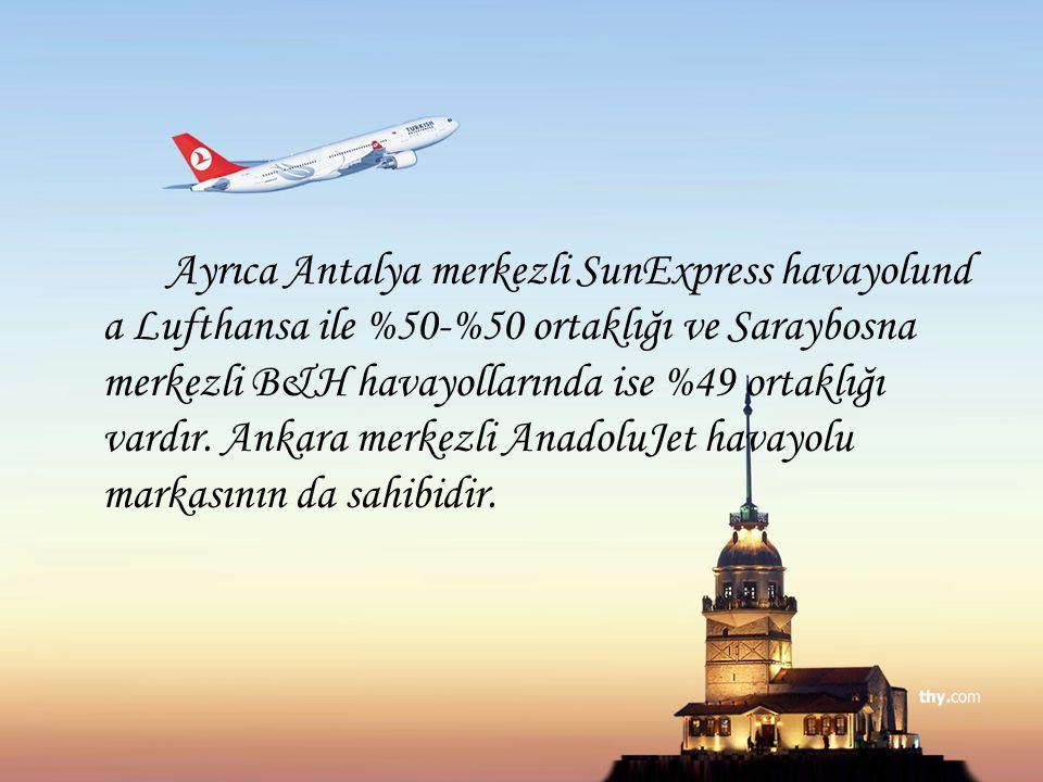 Ayrıca Antalya merkezli SunExpress havayolund a Lufthansa ile %50-%50 ortaklığı ve Saraybosna merkezli B&H havayollarında ise %49 ortaklığı vardır. An