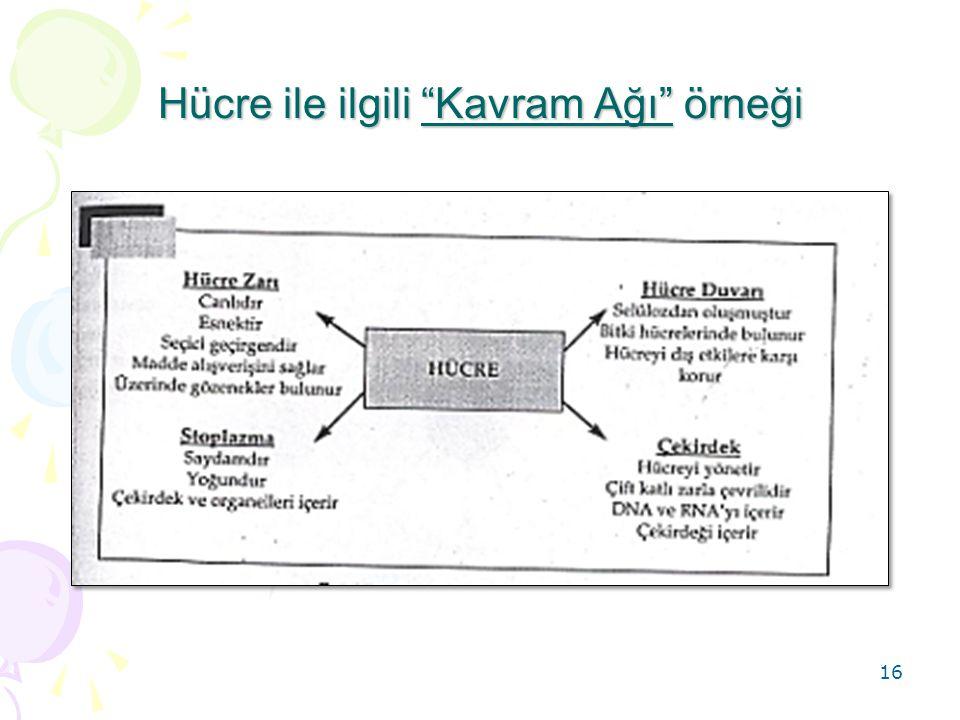Hücre ile ilgili Kavram Ağı örneği 16