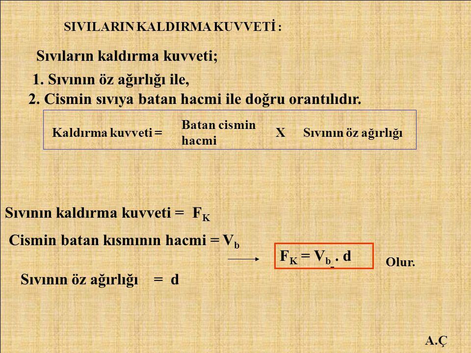 A.Ç SIVILARIN KALDIRMA KUVVETİ : Sıvıların kaldırma kuvveti; 1. Sıvının öz ağırlığı ile, 2. Cismin sıvıya batan hacmi ile doğru orantılıdır. Kaldırma