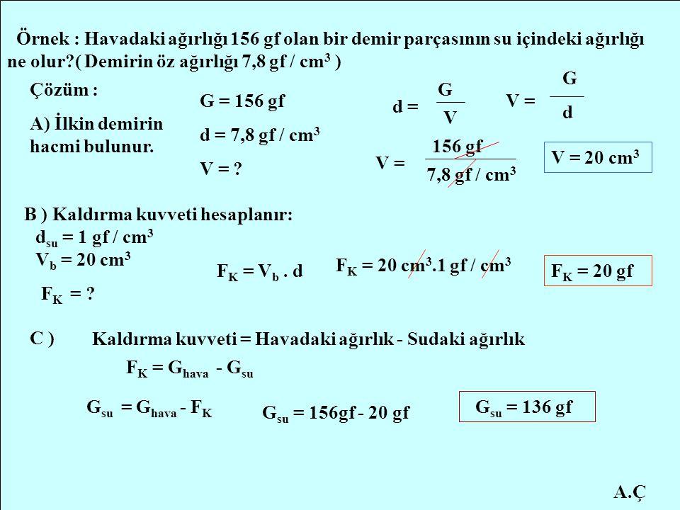 A.Ç Örnek : Havadaki ağırlığı 156 gf olan bir demir parçasının su içindeki ağırlığı ne olur?( Demirin öz ağırlığı 7,8 gf / cm 3 ) Çözüm : A) İlkin dem