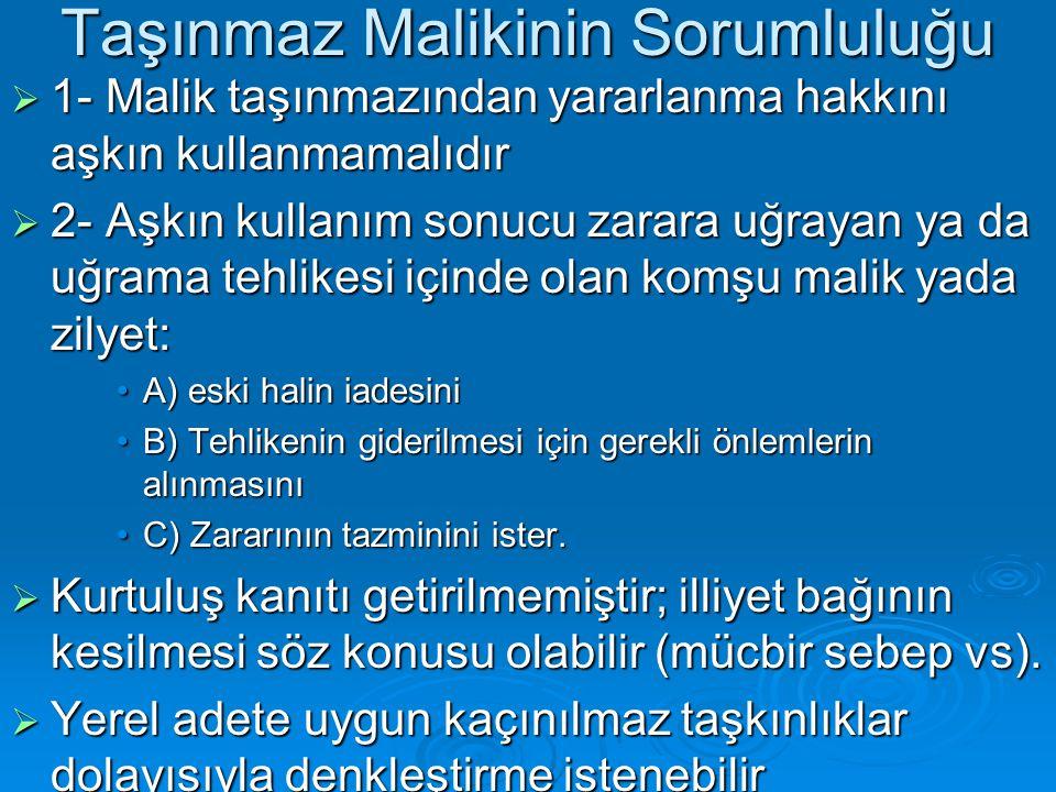 Taşınmaz Malikinin Sorumluluğu  1- Malik taşınmazından yararlanma hakkını aşkın kullanmamalıdır  2- Aşkın kullanım sonucu zarara uğrayan ya da uğram