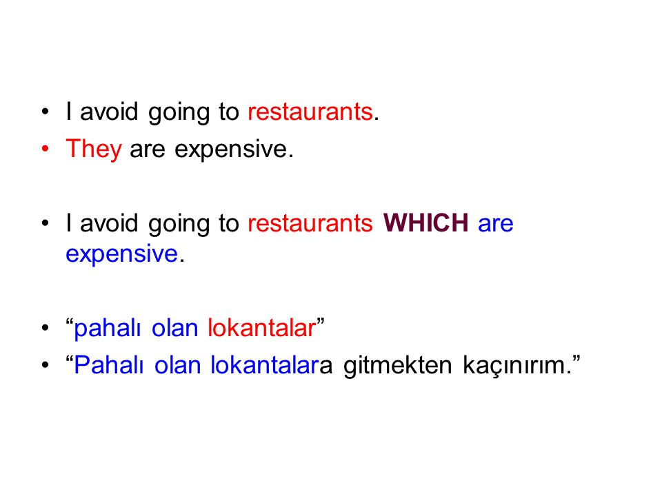 I avoid going to restaurants.They are expensive. I avoid going to restaurants WHICH are expensive.