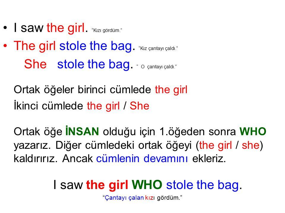 I saw the girl. Kızı gördüm. The girl stole the bag.