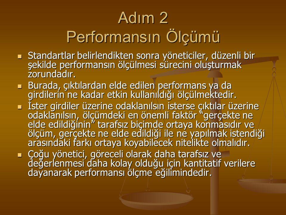 Adım 2 Performansın Ölçümü Standartlar belirlendikten sonra yöneticiler, düzenli bir şekilde performansın ölçülmesi sürecini oluşturmak zorundadır. St