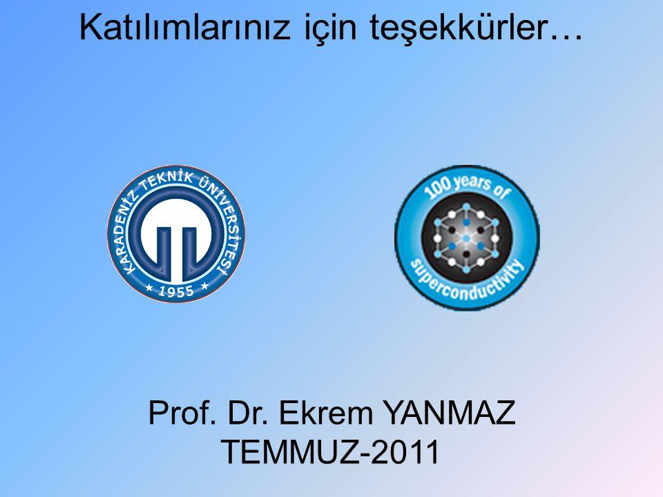 Katılımlarınız için teşekkürler… Prof. Dr. Ekrem YANMAZ TEMMUZ-2011