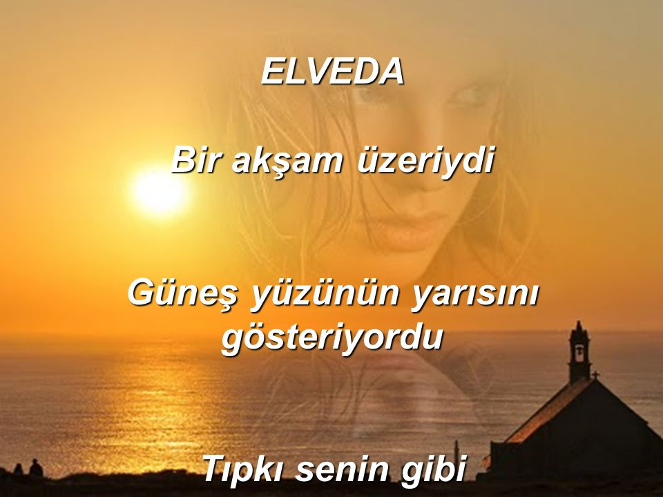 ELVEDA Bir akşam üzeriydi Güneş yüzünün yarısını gösteriyordu Tıpkı senin gibi