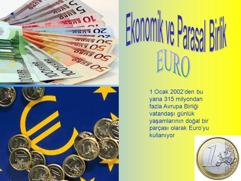1999 Almanya, Avusturya, Belçika, Finlandiya, Fransa, Hollanda, İrlanda, İspanya, İtalya, Lüksemburg, Portekiz 2001Yunanistan 2002 Euro banknotlarının dolaşıma girmesi 2007Slovenya 2008Kıbrıs ve Malta 2009Slovakya 2011Estonya Bugün Euro 315 milyondan fazla insanın kullandığı yasal para birimidir