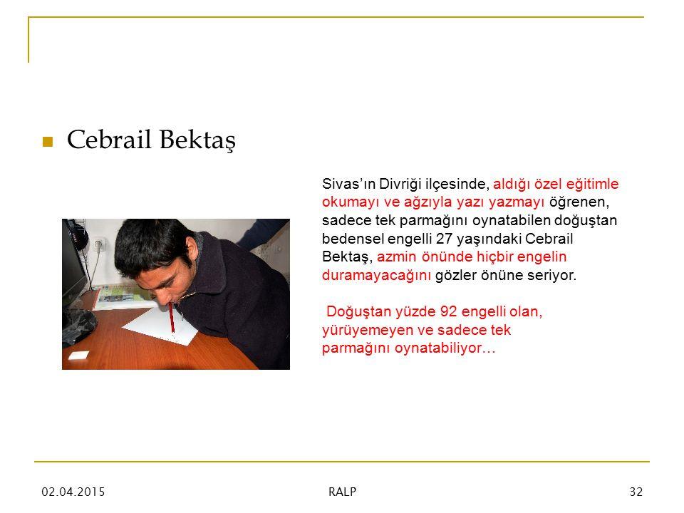 Cebrail Bektaş Sivas'ın Divriği ilçesinde, aldığı özel eğitimle okumayı ve ağzıyla yazı yazmayı öğrenen, sadece tek parmağını oynatabilen doğuştan bedensel engelli 27 yaşındaki Cebrail Bektaş, azmin önünde hiçbir engelin duramayacağını gözler önüne seriyor.