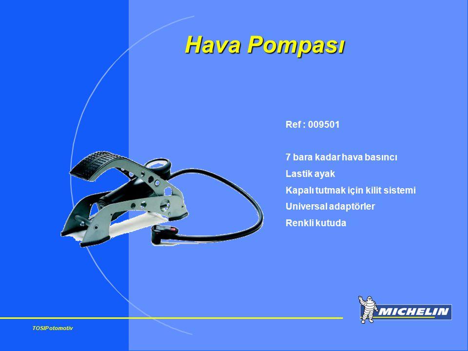 TOSIP otomotiv Ref : 009501 7 bara kadar hava basıncı Lastik ayak Kapalı tutmak için kilit sistemi Universal adaptörler Renkli kutuda Hava Pompası