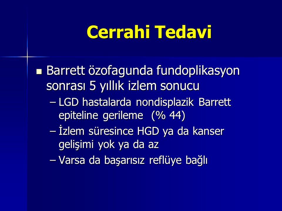 Cerrahi Tedavi Barrett özofagunda fundoplikasyon sonrası 5 yıllık izlem sonucu Barrett özofagunda fundoplikasyon sonrası 5 yıllık izlem sonucu –LGD ha