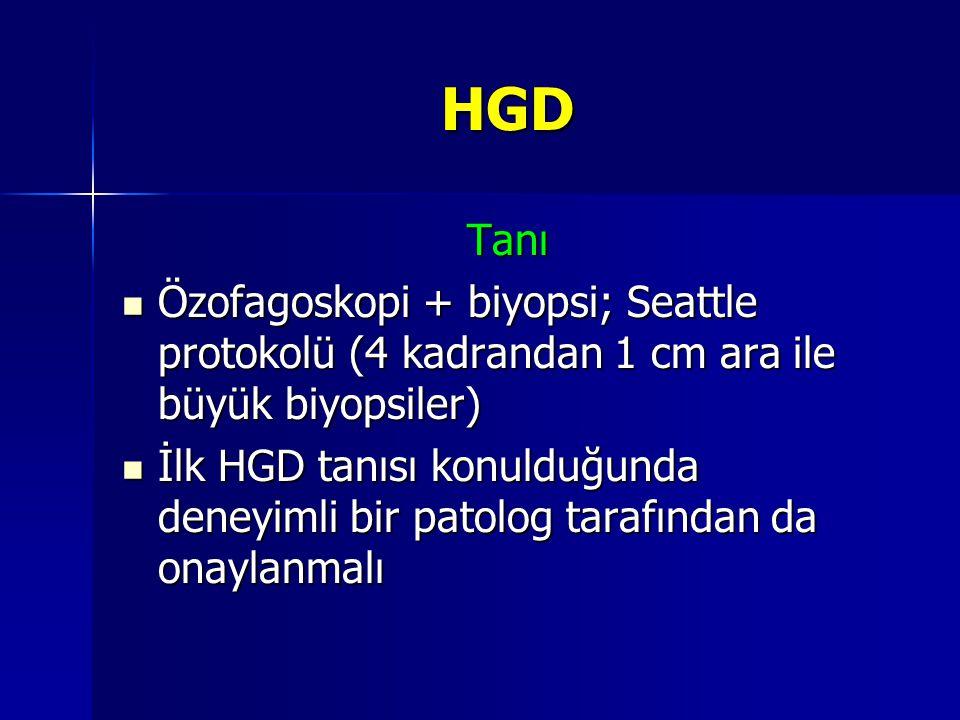 HGD Tanı Özofagoskopi + biyopsi; Seattle protokolü (4 kadrandan 1 cm ara ile büyük biyopsiler) Özofagoskopi + biyopsi; Seattle protokolü (4 kadrandan