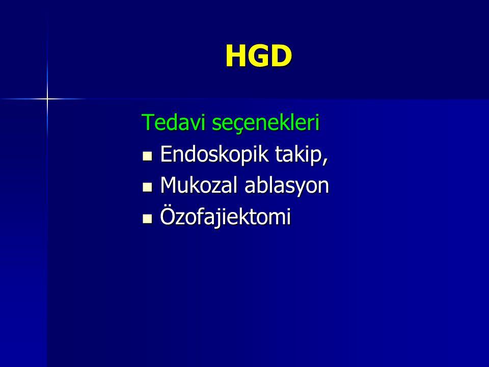HGD Tedavi seçenekleri Endoskopik takip, Endoskopik takip, Mukozal ablasyon Mukozal ablasyon Özofajiektomi Özofajiektomi