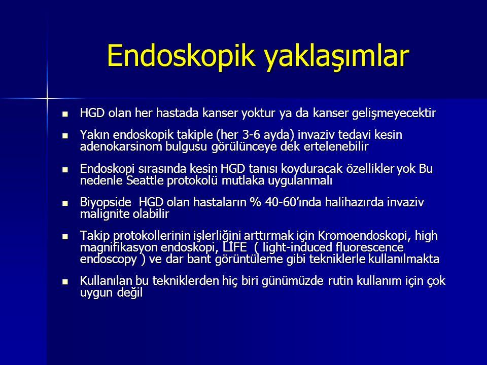 Endoskopik yaklaşımlar HGD olan her hastada kanser yoktur ya da kanser gelişmeyecektir HGD olan her hastada kanser yoktur ya da kanser gelişmeyecektir