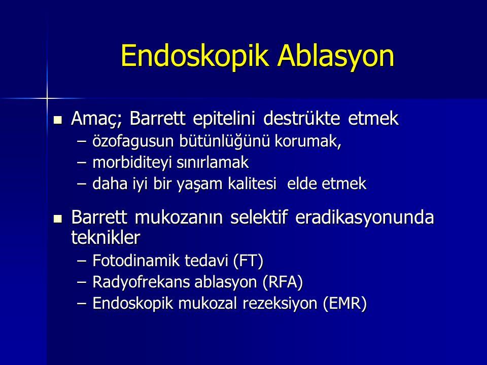 Endoskopik Ablasyon Amaç; Barrett epitelini destrükte etmek Amaç; Barrett epitelini destrükte etmek –özofagusun bütünlüğünü korumak, –morbiditeyi sını