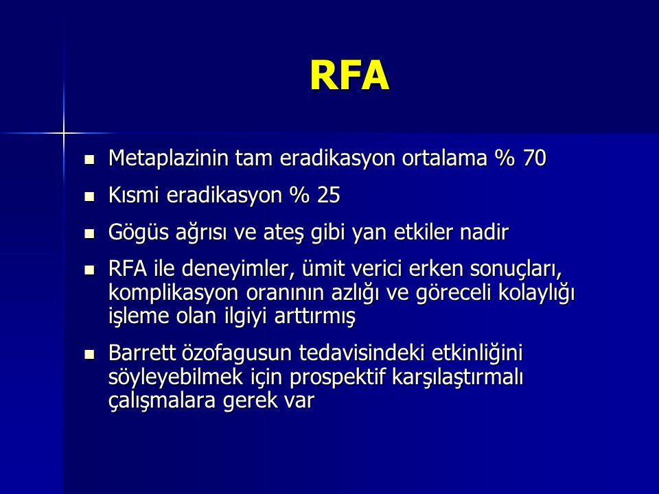 RFA Metaplazinin tam eradikasyon ortalama % 70 Metaplazinin tam eradikasyon ortalama % 70 Kısmi eradikasyon % 25 Kısmi eradikasyon % 25 Gögüs ağrısı v