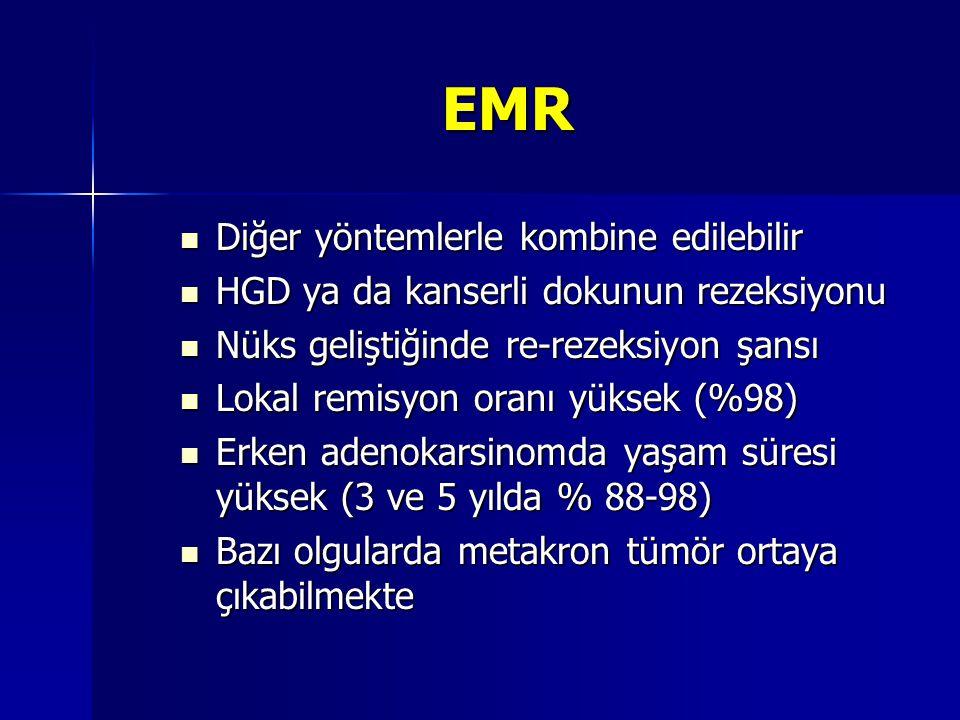 EMR Diğer yöntemlerle kombine edilebilir Diğer yöntemlerle kombine edilebilir HGD ya da kanserli dokunun rezeksiyonu HGD ya da kanserli dokunun rezeks