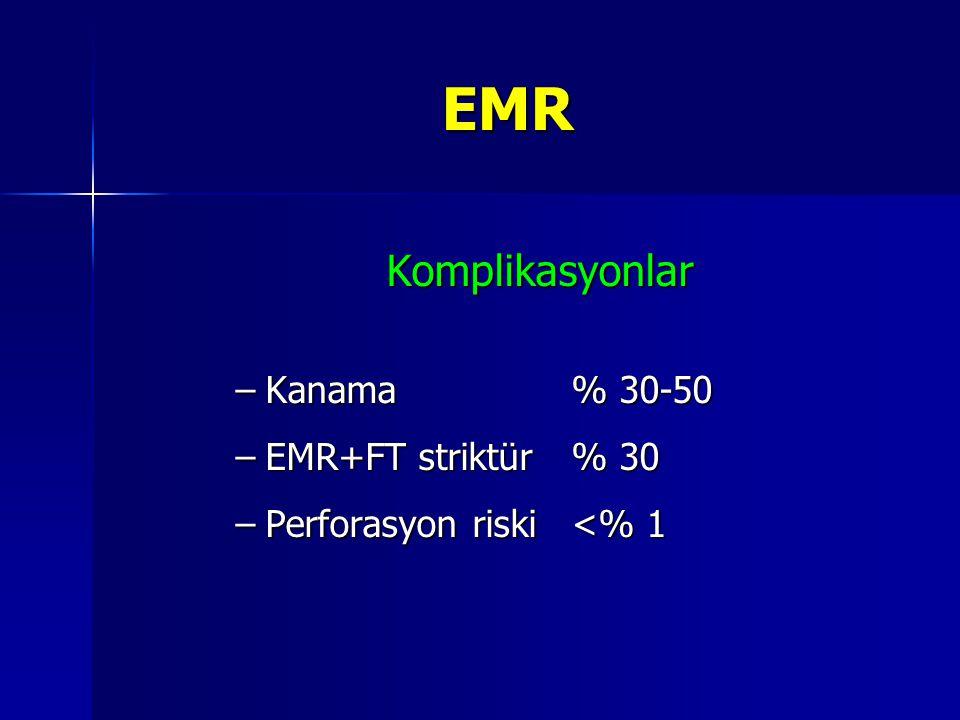 EMR Komplikasyonlar –Kanama % 30-50 –EMR+FT striktür % 30 –Perforasyon riski <% 1