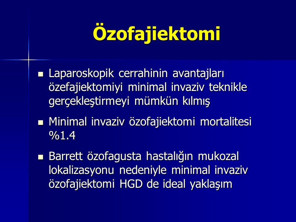 Özofajiektomi Laparoskopik cerrahinin avantajları özefajiektomiyi minimal invaziv teknikle gerçekleştirmeyi mümkün kılmış Laparoskopik cerrahinin avan