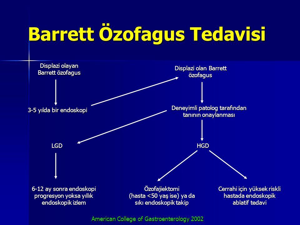 Barrett Özofagus Tedavisi Displazi olayan Barrett özofagus 3-5 yılda bir endoskopi LGD 6-12 ay sonra endoskopi progresyon yoksa yıllık endoskopik izle