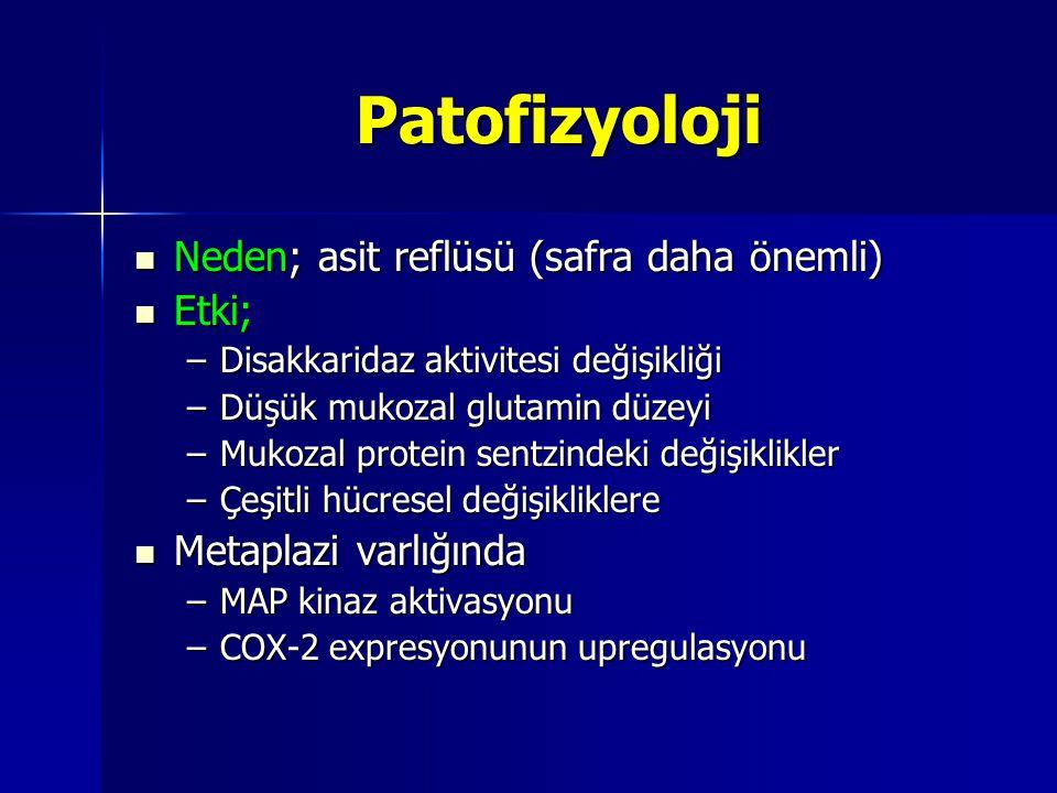 Patofizyoloji Neden; asit reflüsü (safra daha önemli) Neden; asit reflüsü (safra daha önemli) Etki; Etki; –Disakkaridaz aktivitesi değişikliği –Düşük
