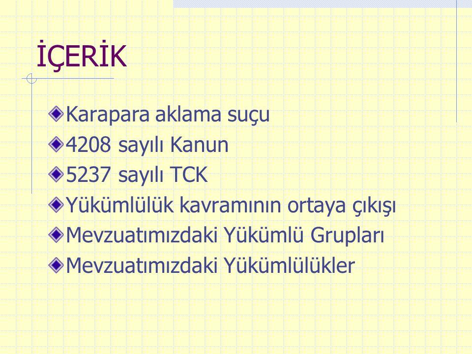 İÇERİK Karapara aklama suçu 4208 sayılı Kanun 5237 sayılı TCK Yükümlülük kavramının ortaya çıkışı Mevzuatımızdaki Yükümlü Grupları Mevzuatımızdaki Yük