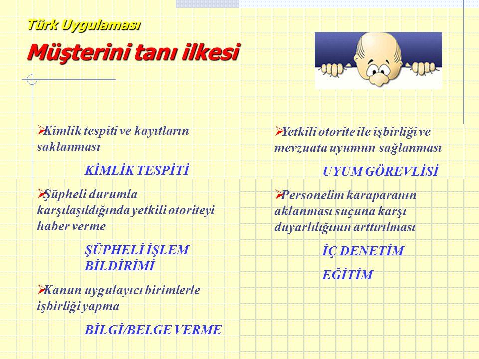 Türk Uygulaması Müşterini tanı ilkesi   Yetkili otorite ile işbirliği ve mevzuata uyumun sağlanması UYUM GÖREVLİSİ   Personelim karaparanın aklanm