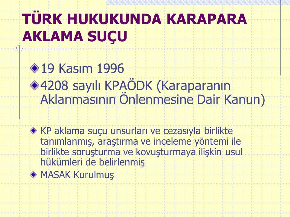 TÜRK HUKUKUNDA KARAPARA AKLAMA SUÇU 19 Kasım 1996 4208 sayılı KPAÖDK (Karaparanın Aklanmasının Önlenmesine Dair Kanun) KP aklama suçu unsurları ve cez