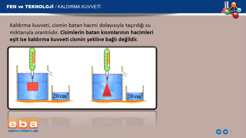 FEN ve TEKNOLOJİ / KALDIRMA KUVVETİ Kaldırma kuvveti, tamamı batan cismin sıvı içerisindeki derinliğine de bağlı değildir.