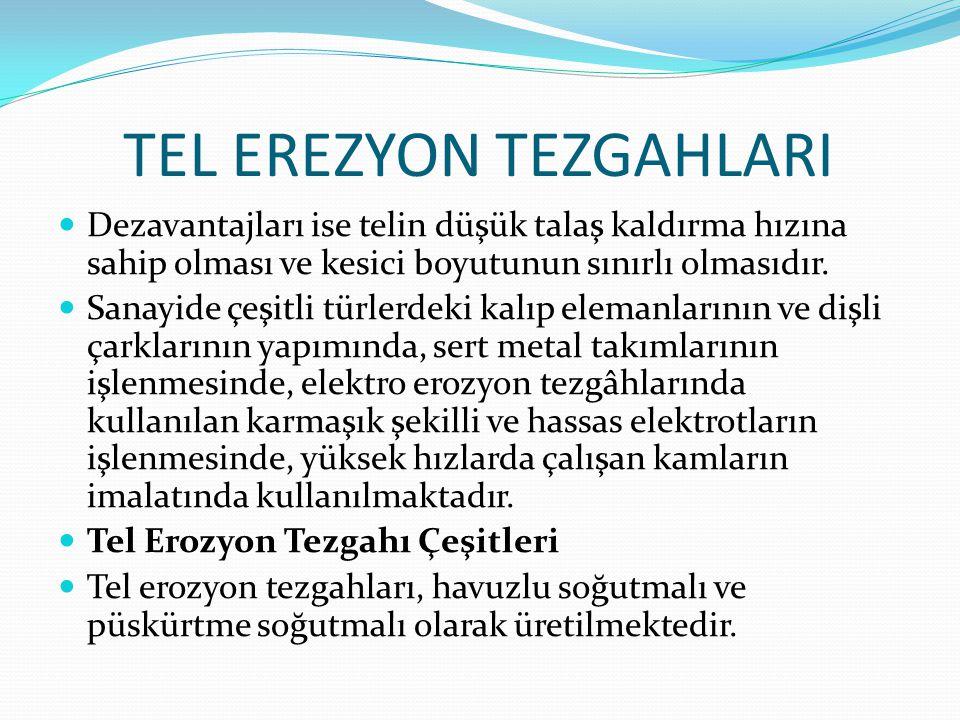 TEL EREZYON TEZGAHLARI Dezavantajları ise telin düşük talaş kaldırma hızına sahip olması ve kesici boyutunun sınırlı olmasıdır. Sanayide çeşitli türle