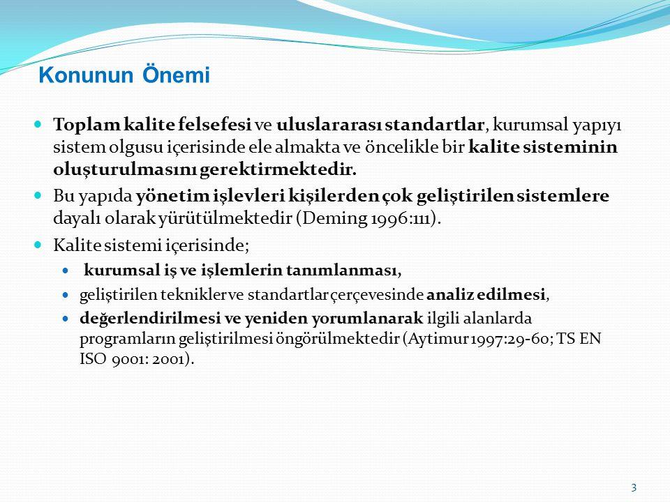 Deming'in Kalite Yönetimi İlkeleri Eğitimi kurumsallaştırın.