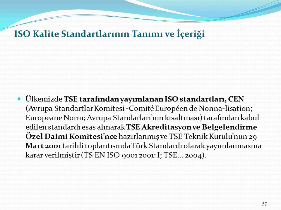 ISO Kalite Standartlarının Tanımı ve İçeriği 56 ISO serisi içerisinde yayımlanan, genel içerikli, tüm kurumsal yapıları kapsayan standartlar, kronoloj