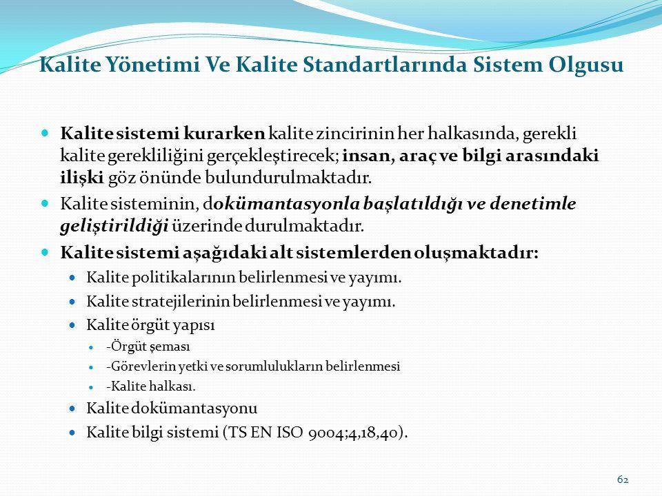 Kalite Yönetimi Ve Kalite Standartlarında Sistem Olgusu sistem, Genel olarak sistem, önceden belirlenmiş bir amacı gerçekleştirmek için tasarlanmış, h