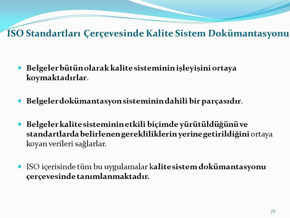 Kalite Yönetimi Ve Kalite Standartlarında Sistem Olgusu Kalite belgelerinde ön planda olan, belgelerin form yapısı değil içerdiği bilginin niteliğidir