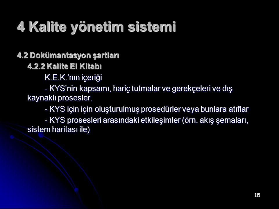 15 4 Kalite yönetim sistemi 4.2 Dokümantasyon şartları 4.2.2 Kalite El Kitabı K.E.K.'nın içeriği - KYS'nin kapsamı, hariç tutmalar ve gerekçeleri ve dış kaynaklı prosesler.