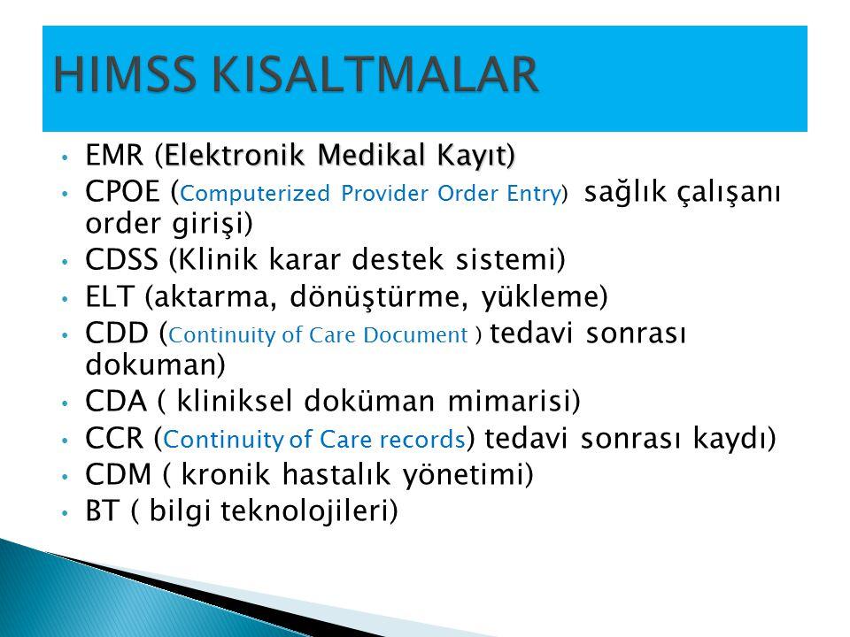 Elektronik Medikal Kayıt) EMR (Elektronik Medikal Kayıt) CPOE ( Computerized Provider Order Entry) sağlık çalışanı order girişi) CDSS (Klinik karar de