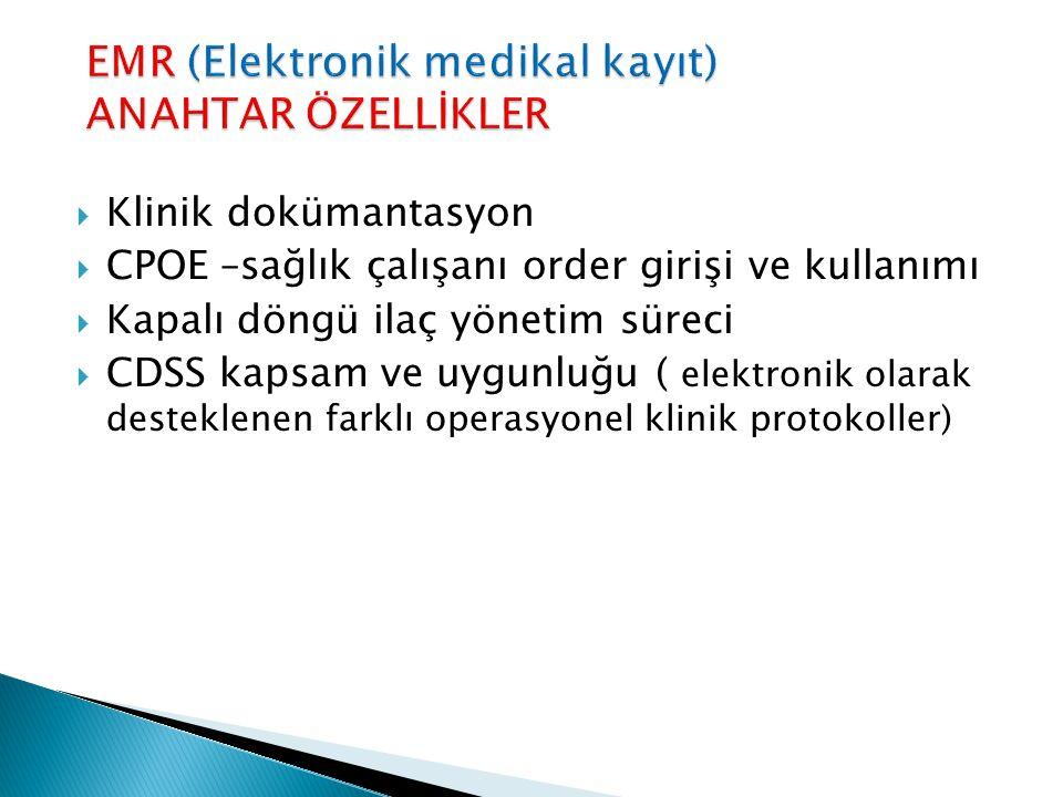  Klinik dokümantasyon  CPOE –sağlık çalışanı order girişi ve kullanımı  Kapalı döngü ilaç yönetim süreci  CDSS kapsam ve uygunluğu ( elektronik ol