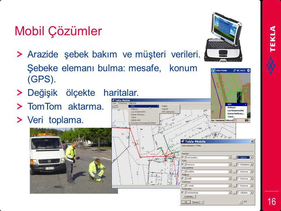 Mobil Çözümler Arazide şebek bakım ve müşteri verileri. Şebeke elemanı bulma: mesafe, konum (GPS). Değişik ölçekte haritalar. TomTom aktarma. Veri top