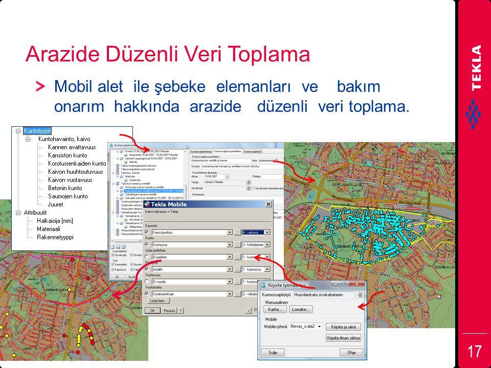 Arazide Düzenli Veri Toplama Mobil alet ile şebeke elemanları ve bakım onarım hakkında arazide düzenli veri toplama. 17