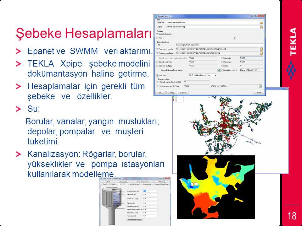 Şebeke Hesaplamaları Epanet ve SWMM veri aktarımı. TEKLA Xpipe şebeke modelini dokümantasyon haline getirme. Hesaplamalar için gerekli tüm şebeke ve ö