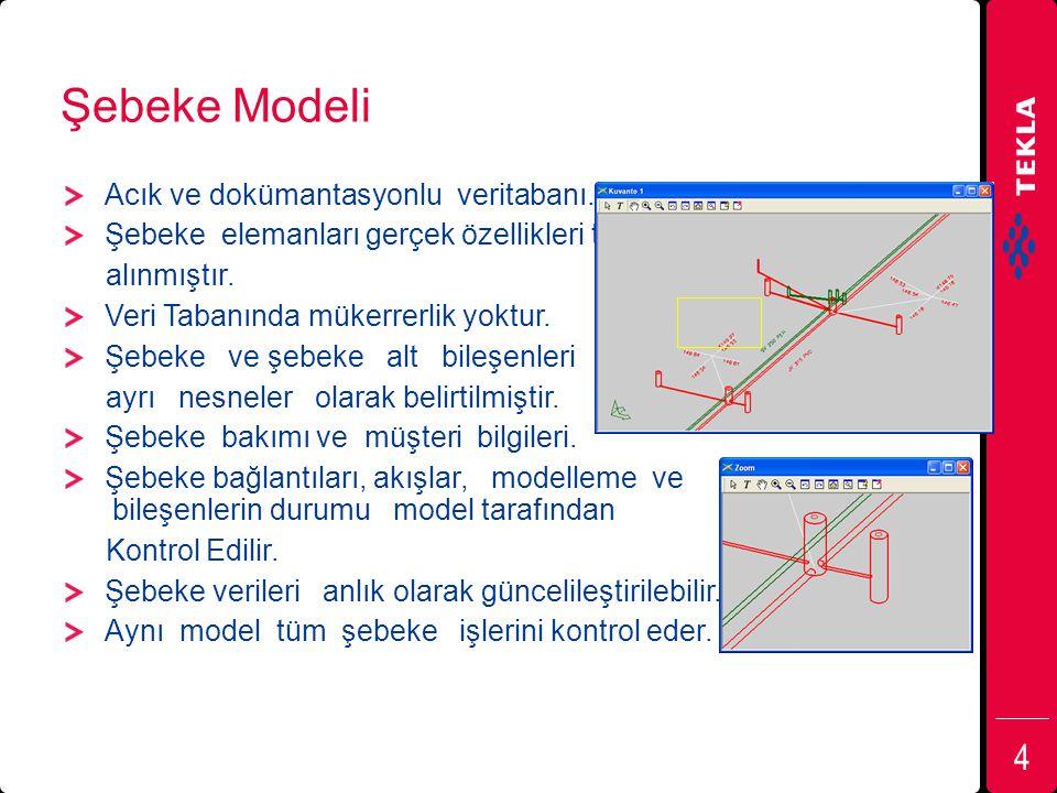 Şebeke Modeli Acık ve dokümantasyonlu veritabanı. Şebeke elemanları gerçek özellikleri temel alınmıştır. Veri Tabanında mükerrerlik yoktur. Şebeke ve