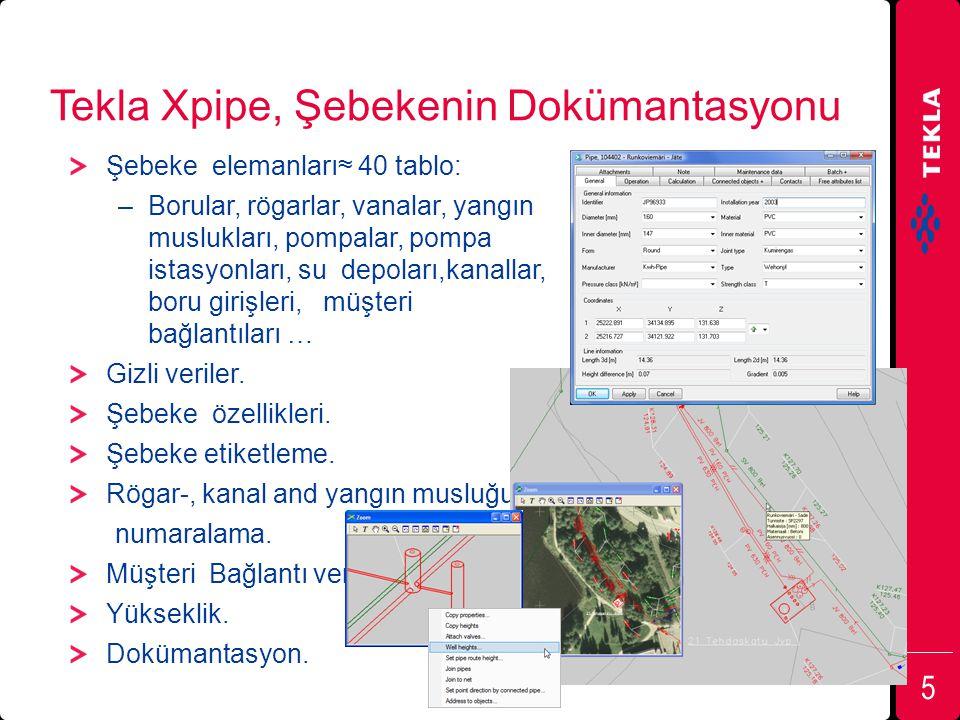 Tekla Xpipe, Şebekenin Dokümantasyonu Şebeke elemanları≈ 40 tablo: –Borular, rögarlar, vanalar, yangın muslukları, pompalar, pompa istasyonları, su de