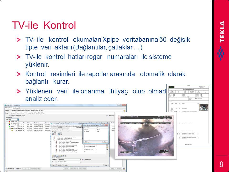 TV-ile Kontrol TV- ile kontrol okumaları Xpipe veritabanına 50 değişik tipte veri aktarır(Bağlantılar, çatlaklar …) TV-ile kontrol hatları rögar numar