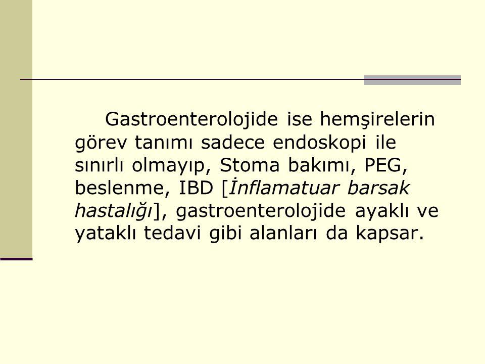 Gastroenterolojide ise hemşirelerin görev tanımı sadece endoskopi ile sınırlı olmayıp, Stoma bakımı, PEG, beslenme, IBD [İnflamatuar barsak hastalığı], gastroenterolojide ayaklı ve yataklı tedavi gibi alanları da kapsar.