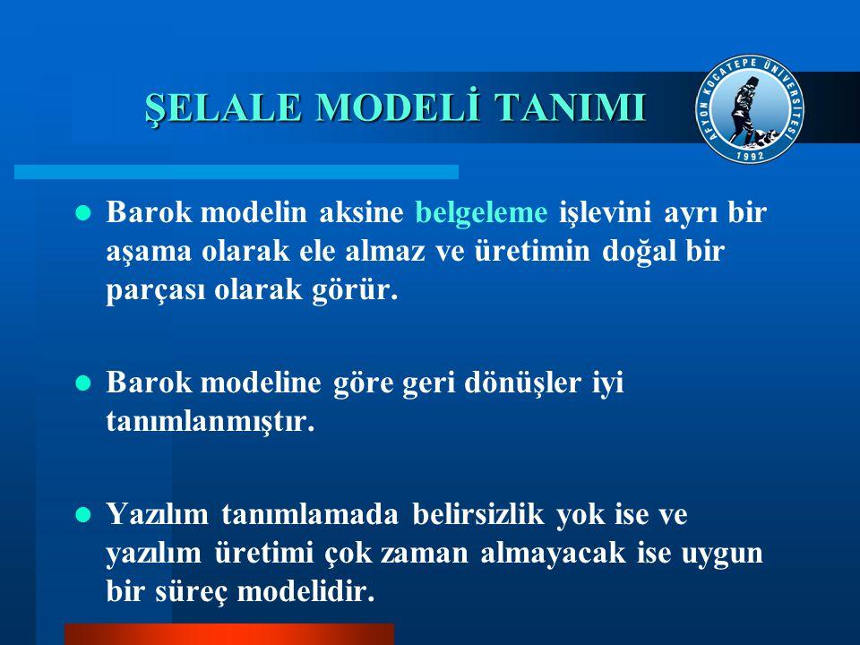 ŞELALE MODELİ TANIMI Barok modelin aksine belgeleme işlevini ayrı bir aşama olarak ele almaz ve üretimin doğal bir parçası olarak görür. Barok modelin