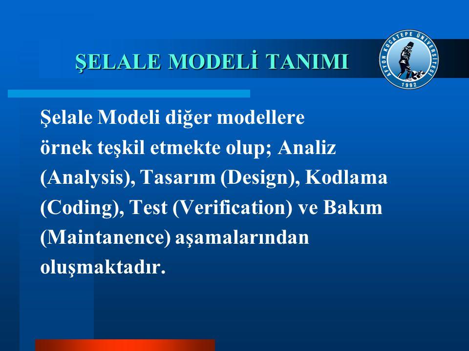 ŞELALE MODELİ TANIMI Şelale Modeli diğer modellere örnek teşkil etmekte olup; Analiz (Analysis), Tasarım (Design), Kodlama (Coding), Test (Verificatio